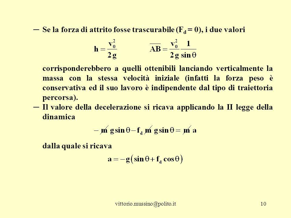 vittorio.mussino@polito.it10 ─Se la forza di attrito fosse trascurabile (F d = 0), i due valori corrisponderebbero a quelli ottenibili lanciando verti