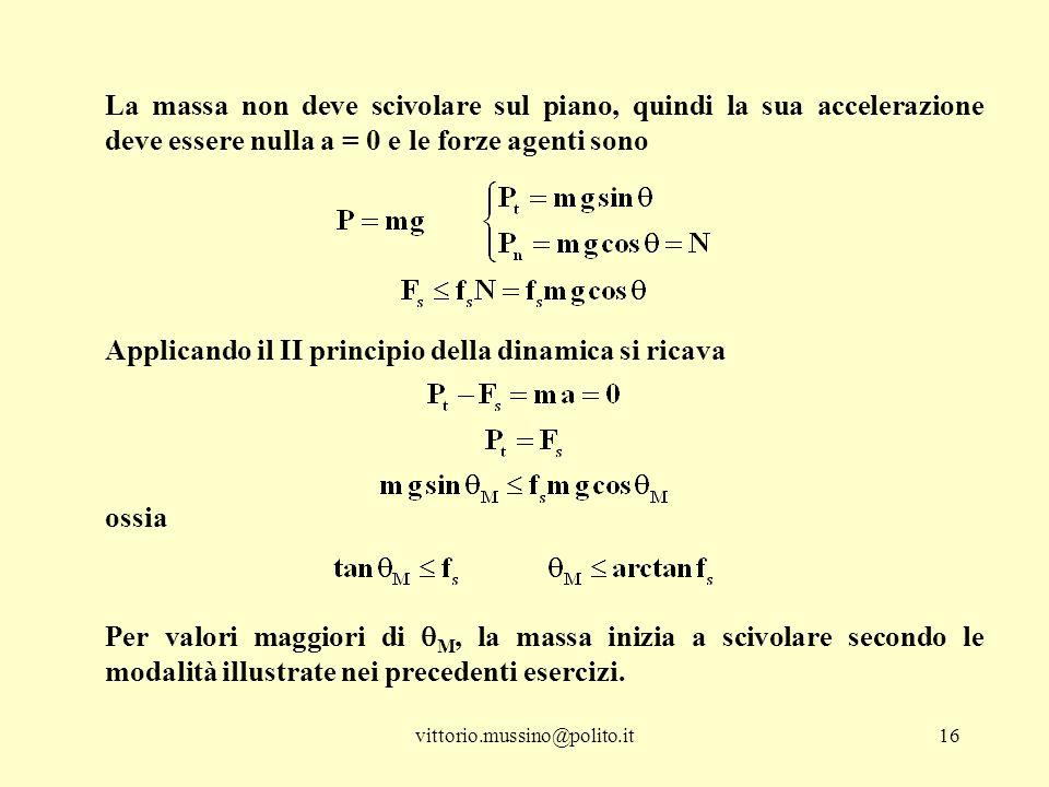 vittorio.mussino@polito.it16 La massa non deve scivolare sul piano, quindi la sua accelerazione deve essere nulla a = 0 e le forze agenti sono Applica