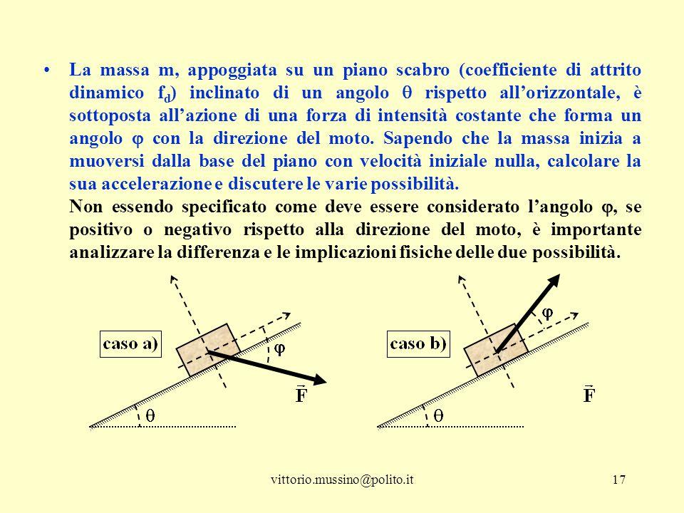 vittorio.mussino@polito.it17 La massa m, appoggiata su un piano scabro (coefficiente di attrito dinamico f d ) inclinato di un angolo  rispetto all'o