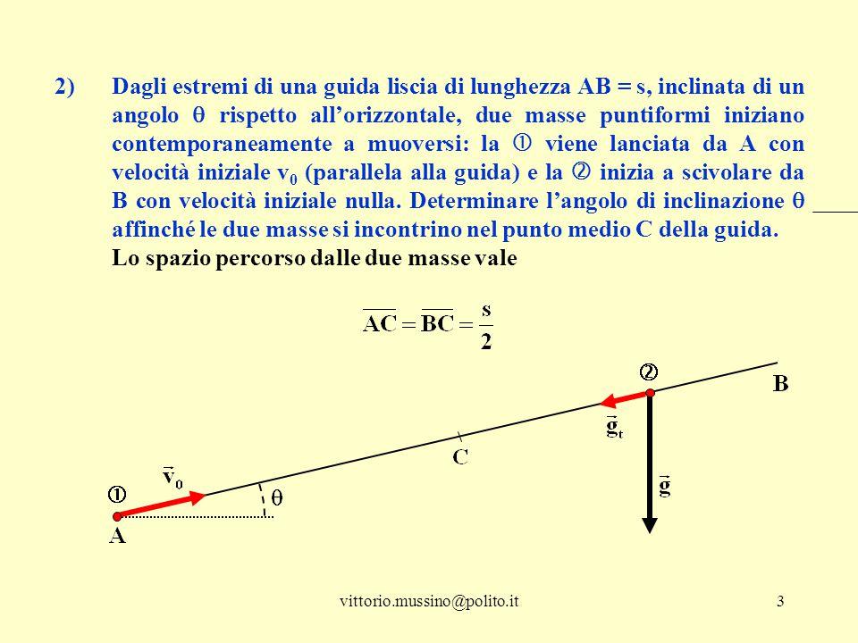 vittorio.mussino@polito.it3 2)Dagli estremi di una guida liscia di lunghezza AB = s, inclinata di un angolo  rispetto all'orizzontale, due masse punt