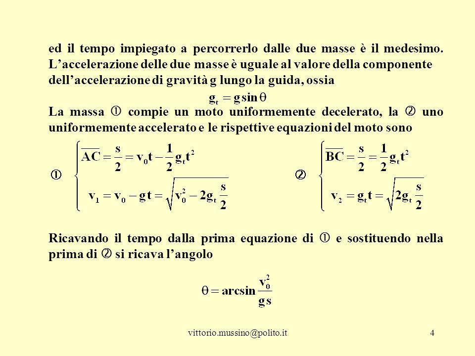 vittorio.mussino@polito.it5 e le due masse si incontreranno in C con velocità rispettivamente Attenzione: dovendo essere sin   1, vale la disuguaglianza che impone un valore massimo limite al modulo della velocità iniziale della massa .