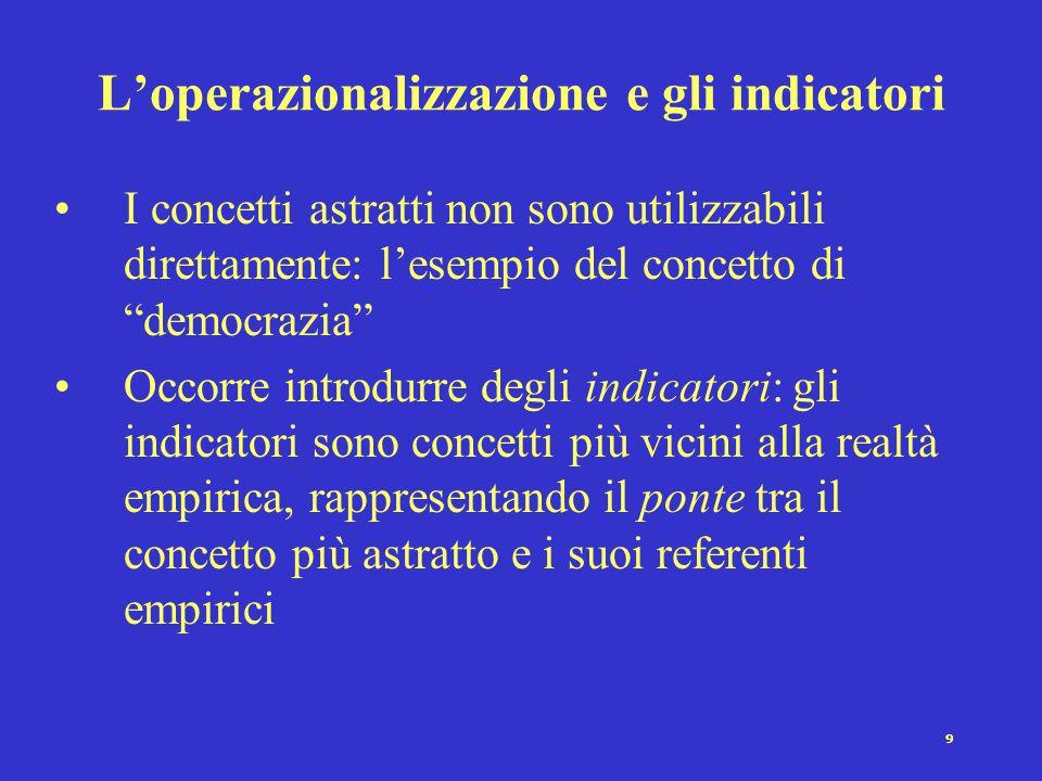 8 I criteri da soddisfare (parte II) 2.Problema di operazionalizzazione: i concetti devono essere in grado di descrivere la realtà empirica, ovvero de