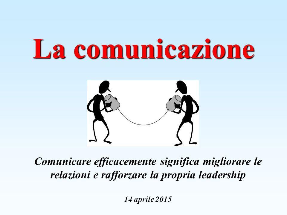 La comunicazione Comunicare efficacemente significa migliorare le relazioni e rafforzare la propria leadership 14 aprile 2015