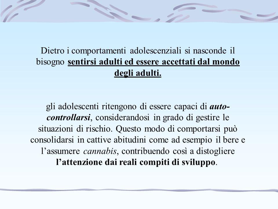 Dietro i comportamenti adolescenziali si nasconde il bisogno sentirsi adulti ed essere accettati dal mondo degli adulti. gli adolescenti ritengono di