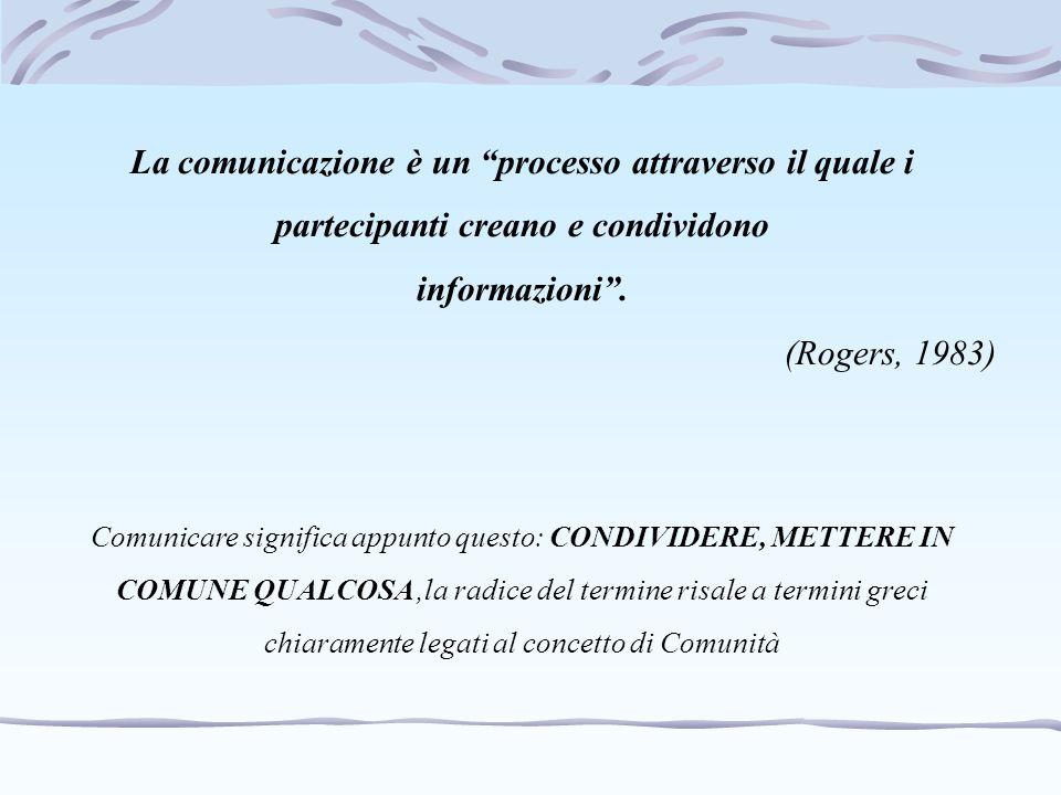 """La comunicazione è un """"processo attraverso il quale i partecipanti creano e condividono informazioni"""". (Rogers, 1983) Comunicare significa appunto que"""