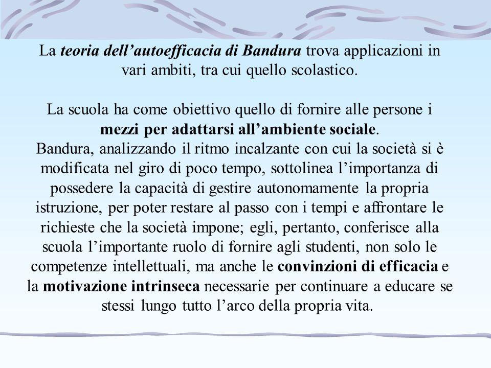 La teoria dell'autoefficacia di Bandura trova applicazioni in vari ambiti, tra cui quello scolastico. La scuola ha come obiettivo quello di fornire al
