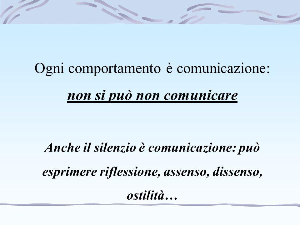 Ogni comportamento è comunicazione: non si può non comunicare Anche il silenzio è comunicazione: può esprimere riflessione, assenso, dissenso, ostilit