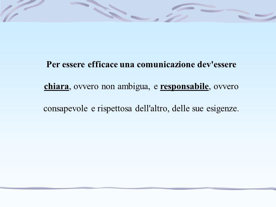 Per essere efficace una comunicazione dev'essere chiara, ovvero non ambigua, e responsabile, ovvero consapevole e rispettosa dell'altro, delle sue esi