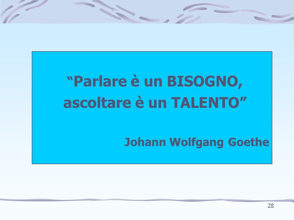 """"""" Parlare è un BISOGNO, ascoltare è un TALENTO"""" Johann Wolfgang Goethe 28"""