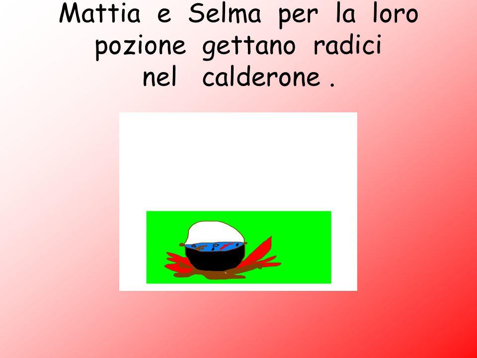 Mattia e Selma per la loro pozione gettano radici nel calderone.