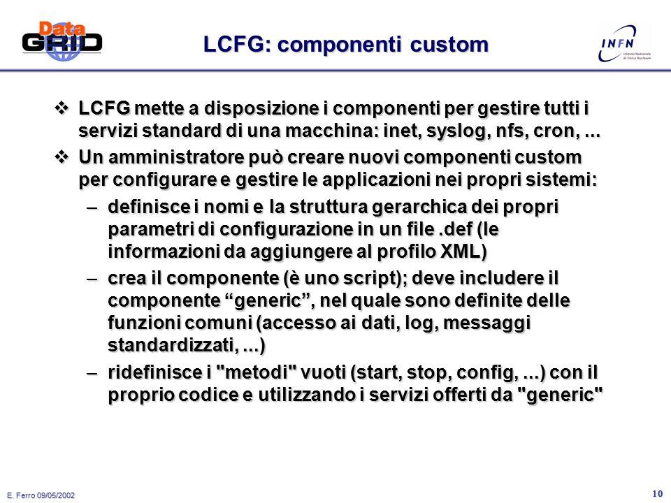 E. Ferro 09/05/2002 9 Cos'e' un componente LCFG.