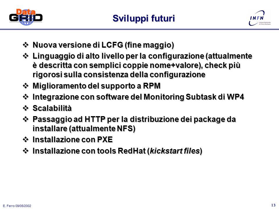 E. Ferro 09/05/2002 12 LCFG: pro & contro  Pro: –In uso da anni in un ambiente complesso ed eterogeneo, con centinaia di nodi da gestire, dal cluster