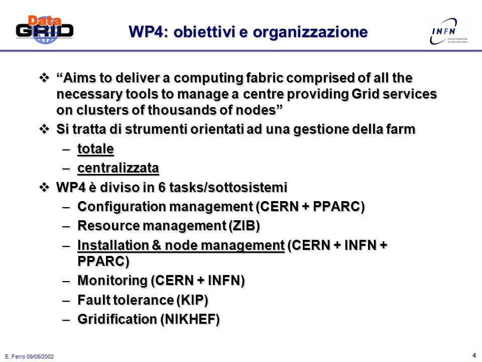 "E. Ferro 09/05/2002 3 Datagrid  Il progetto è diviso in ""Work Packages"": –WP1: Workload Management –WP2: Data Management –WP3: Monitoring Services –W"