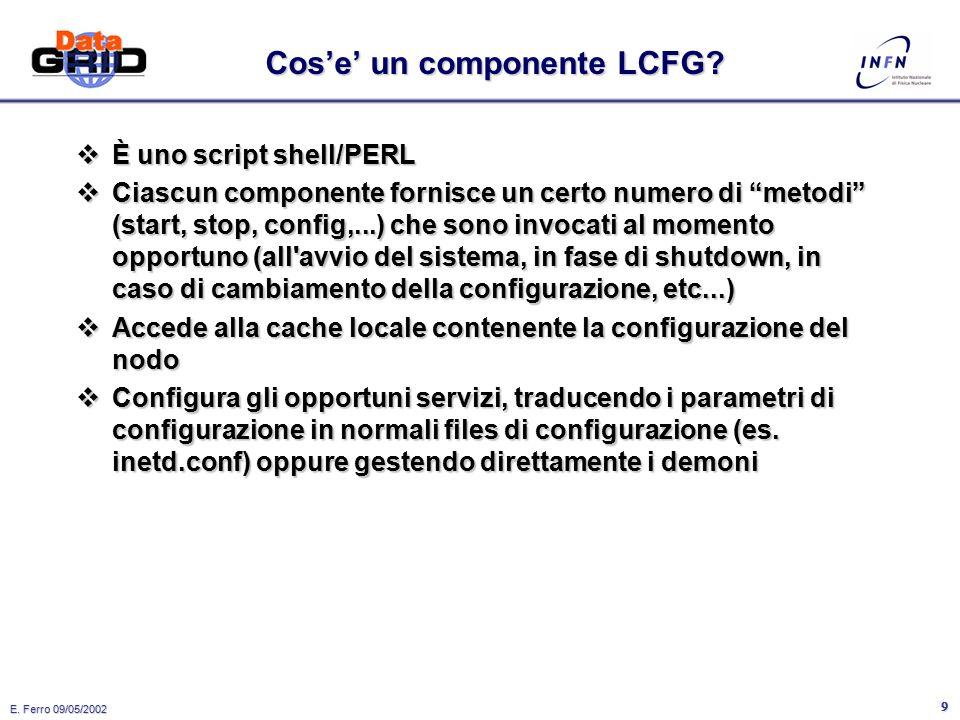 E. Ferro 09/05/2002 8 LCFG: come funziona il client  All'avvio, viene caricato un demone (rdxprof) che resta in ascolto su una porta UDP. Inoltre un