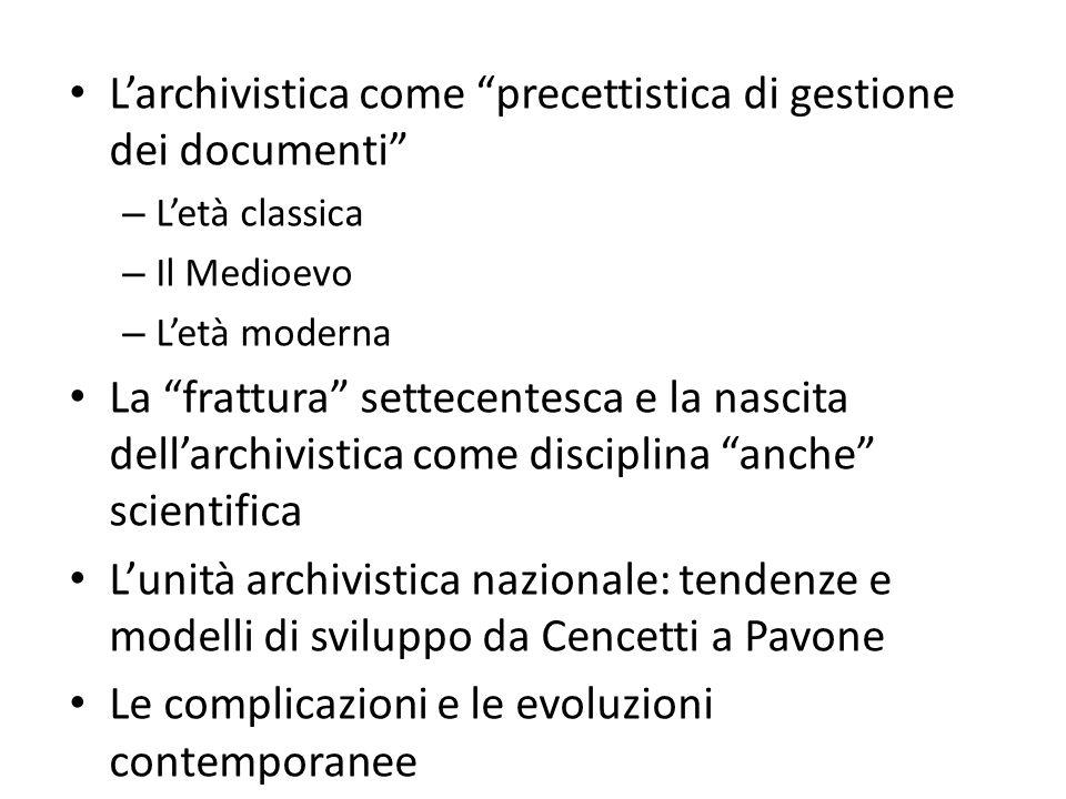 L'evoluzione storica dell'archivistica