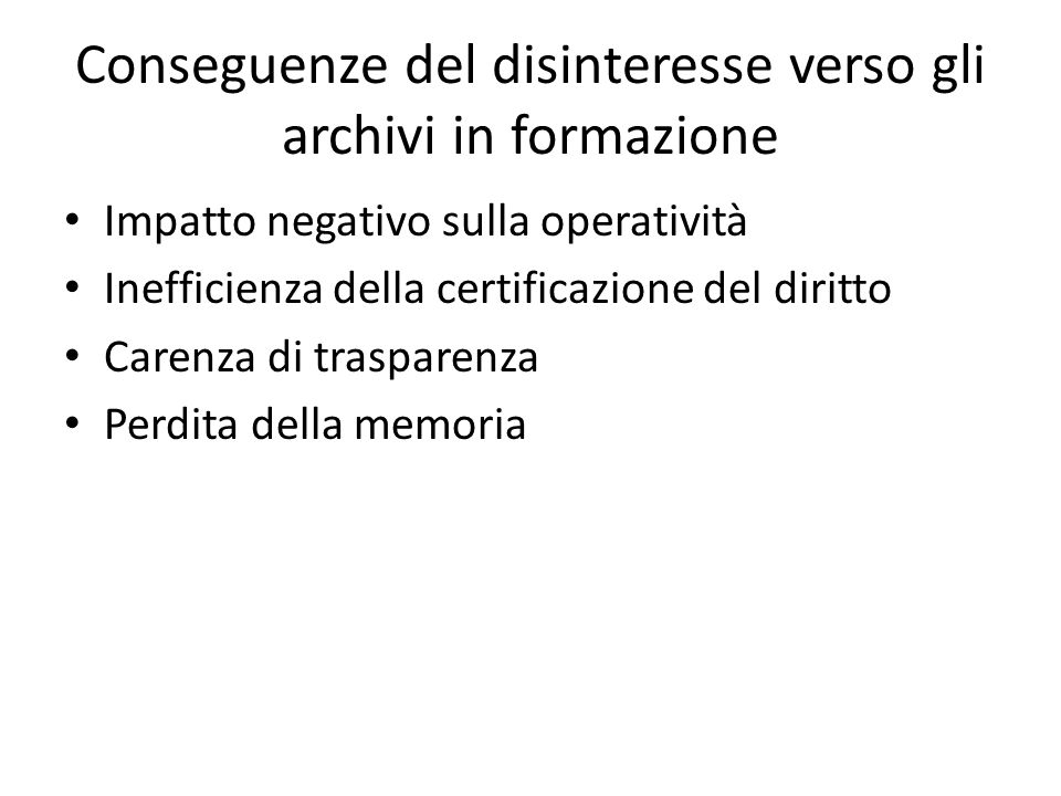Gli archivi contemporanei sono soggetti ad un accrescimento esponenziale della documentazione e le loro dimensioni sono a volte di mole tale da renderli difficilmente gestibili e consultabili