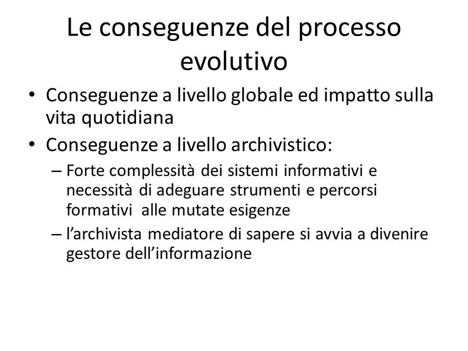 Un fatto davvero nuovo La diffusione del documento informatico eil riconoscimento della sua validità giuridica La nascita degli archivi informatici in senso proprio L'archivistica informatica