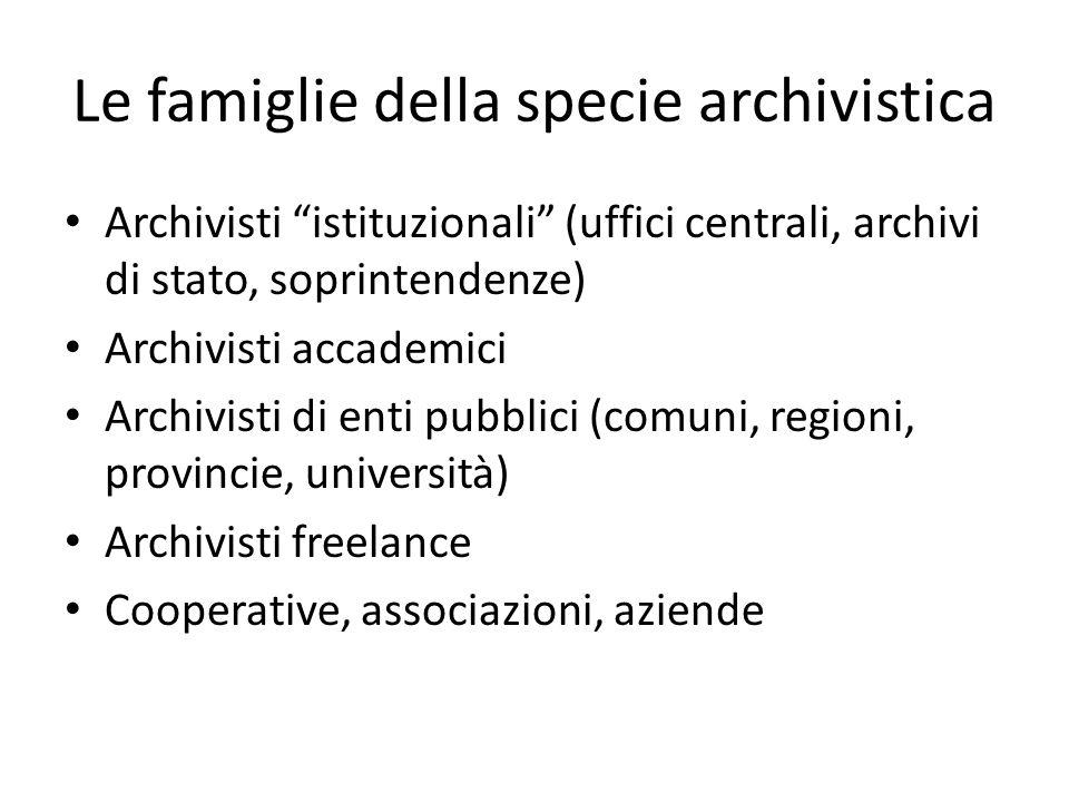 Le risposte della comunità archivistica Inversione di tendenza negli interessi scientifici Ridefinizione della professionalità