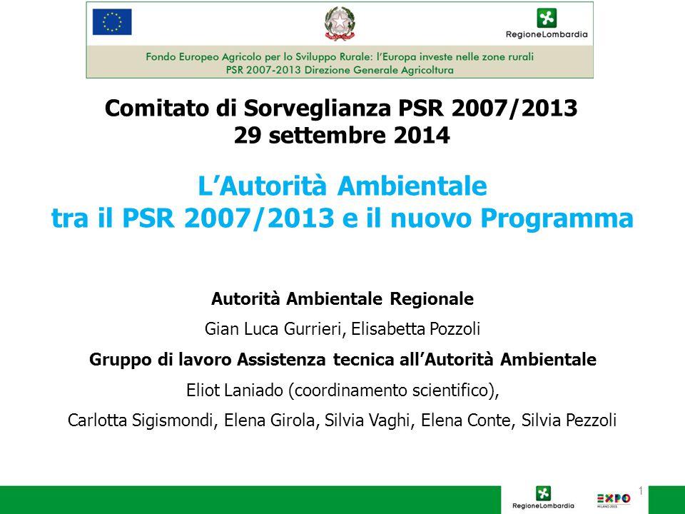 2 Indice della presentazione  L'Autorità Ambientale nel PSR 2007/2013: le principali attività svolte  Il monitoraggio ambientale del PSR 2007/2013  Il contributo dell'Autorità Ambientale alla Valutazione unitaria  I punti di attenzione presentati al Comitato di Sorveglianza PSR 2013  La Strategia di Sostenibilità ambientale per i programmi comunitari 2014/2020  La VAS del PSR 2014/2020  Il richiamo dell'AA nella recente legge 116/2014  Il possibile contributo dell'AA alla fase attuativa del nuovo Programma