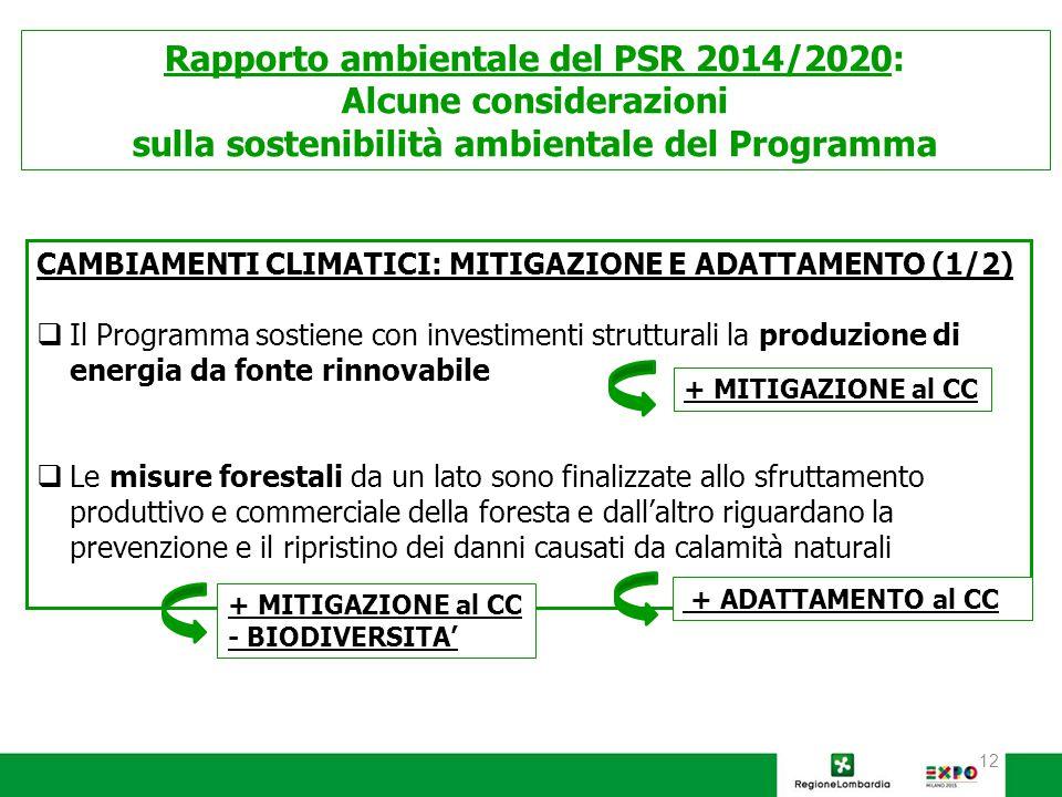 12 Rapporto ambientale del PSR 2014/2020: Alcune considerazioni sulla sostenibilità ambientale del Programma CAMBIAMENTI CLIMATICI: MITIGAZIONE E ADATTAMENTO (1/2)  Il Programma sostiene con investimenti strutturali la produzione di energia da fonte rinnovabile  Le misure forestali da un lato sono finalizzate allo sfruttamento produttivo e commerciale della foresta e dall'altro riguardano la prevenzione e il ripristino dei danni causati da calamità naturali + MITIGAZIONE al CC - BIODIVERSITA' + ADATTAMENTO al CC