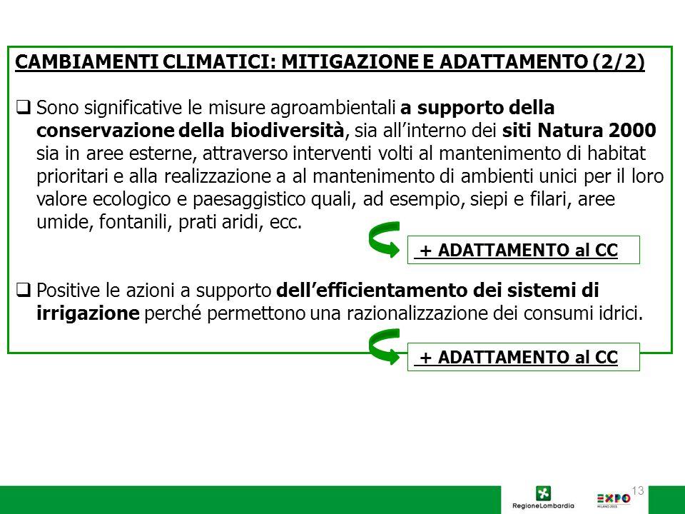 13 CAMBIAMENTI CLIMATICI: MITIGAZIONE E ADATTAMENTO (2/2)  Sono significative le misure agroambientali a supporto della conservazione della biodiversità, sia all'interno dei siti Natura 2000 sia in aree esterne, attraverso interventi volti al mantenimento di habitat prioritari e alla realizzazione a al mantenimento di ambienti unici per il loro valore ecologico e paesaggistico quali, ad esempio, siepi e filari, aree umide, fontanili, prati aridi, ecc.