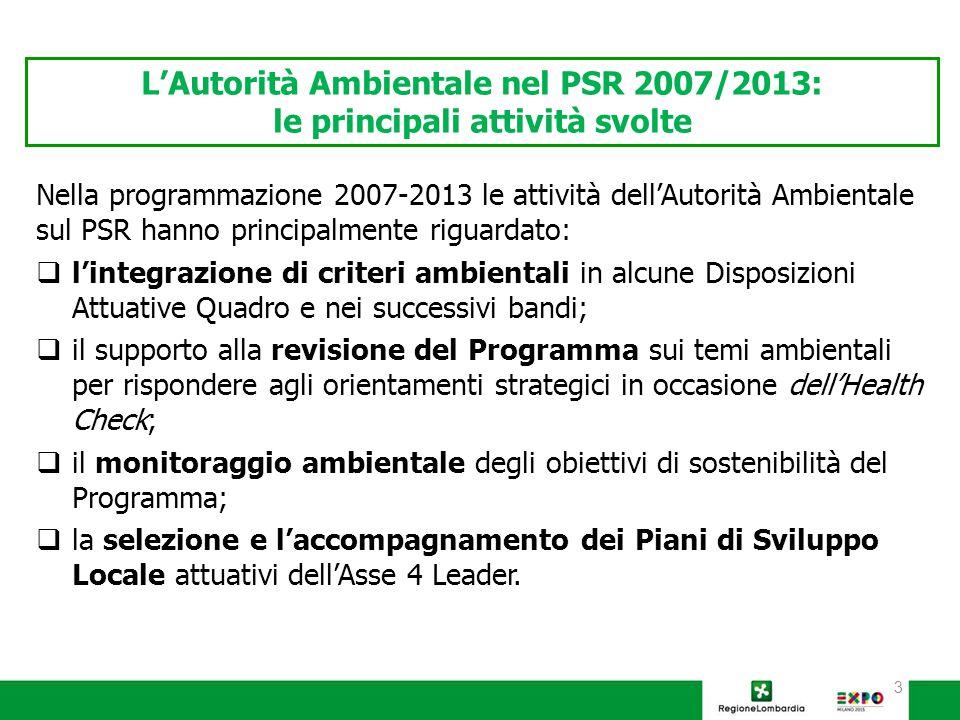 3 Nella programmazione 2007-2013 le attività dell'Autorità Ambientale sul PSR hanno principalmente riguardato:  l'integrazione di criteri ambientali in alcune Disposizioni Attuative Quadro e nei successivi bandi;  il supporto alla revisione del Programma sui temi ambientali per rispondere agli orientamenti strategici in occasione dell'Health Check;  il monitoraggio ambientale degli obiettivi di sostenibilità del Programma;  la selezione e l'accompagnamento dei Piani di Sviluppo Locale attuativi dell'Asse 4 Leader.