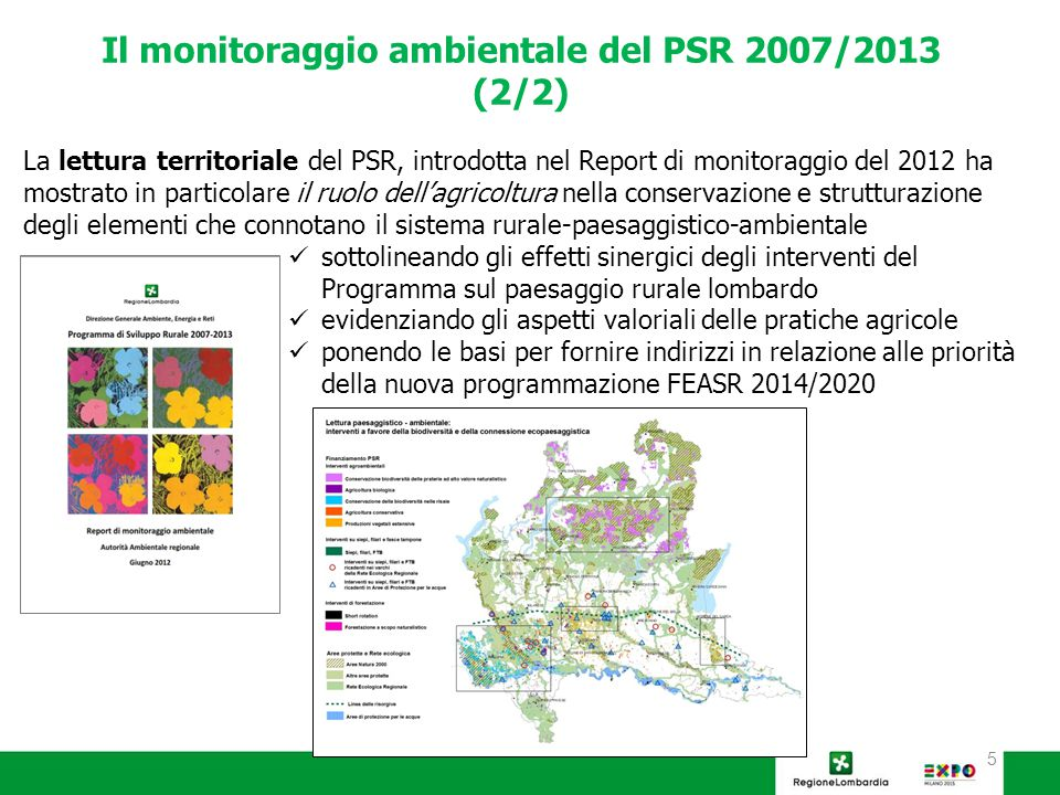6 L'esperienza condotta dall'AA sul PSR e nella realizzazione dei successivi monitoraggi ambientali unita all'analisi delle priorità comunitarie al 2020 confluiranno nella Valutazione unitaria dei Programmi 2007/2013 (FESR, FEASR, FSC) condotta dalla Regione, nell'ambito della quale l'Autorità Ambientale fornirà considerazioni valutative rispetto al principio trasversale dello sviluppo sostenibile con particolare attenzione a:  Alla mitigazione del cambiamento climatico e  Alla riqualificazione paesistico-ambientale con particolare attenzione all'infrastruttura verde multifunzionale, in una prospettiva di resilienza dei territori.