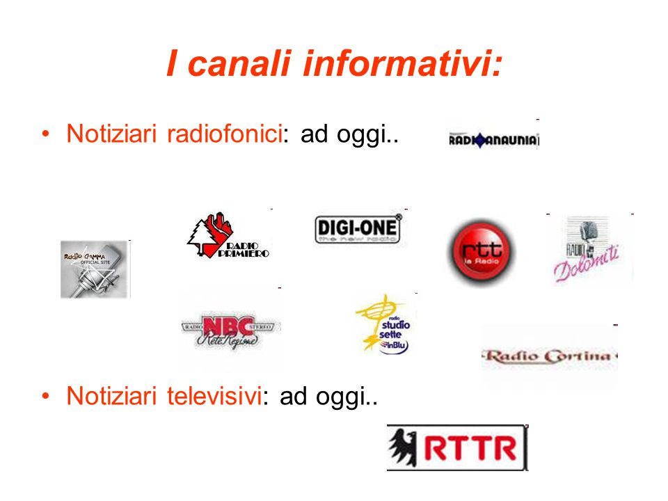 I canali informativi: Notiziari radiofonici: ad oggi.. Notiziari televisivi: ad oggi..