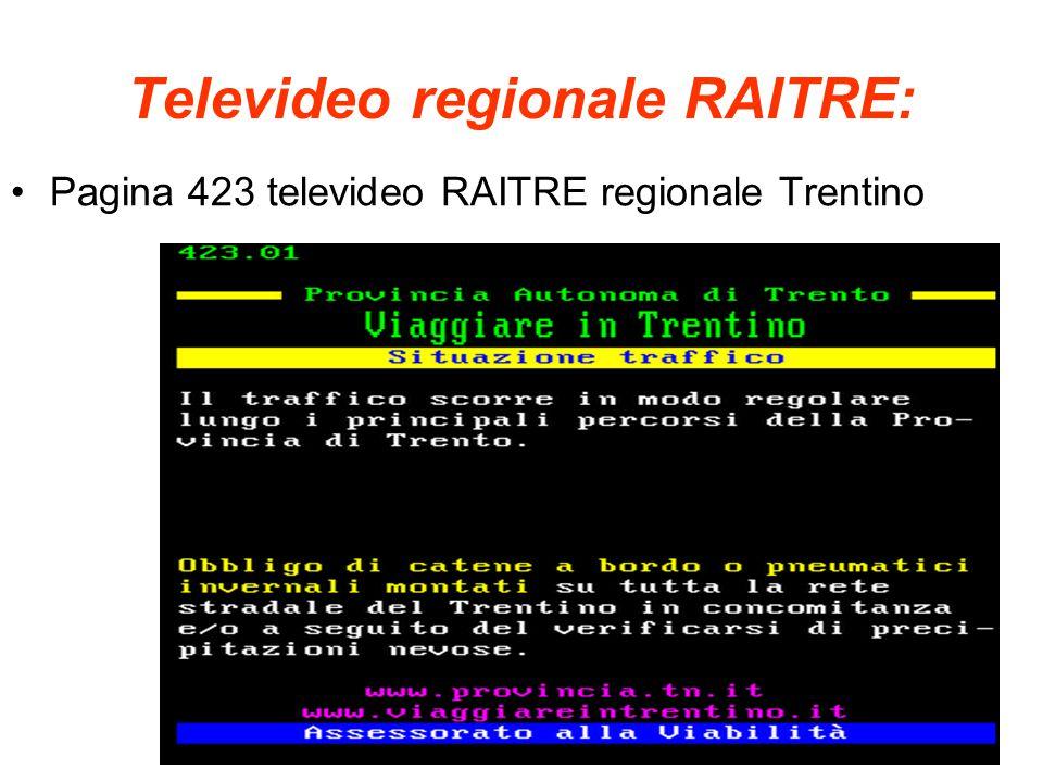 Televideo regionale RAITRE: Pagina 423 televideo RAITRE regionale Trentino