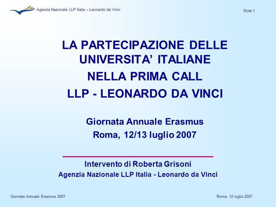 Slide 1 Agenzia Nazionale LLP Italia – Leonardo da Vinci Giornata Annuale Erasmus 2007Roma, 12 luglio 2007 LA PARTECIPAZIONE DELLE UNIVERSITA' ITALIANE NELLA PRIMA CALL LLP - LEONARDO DA VINCI Giornata Annuale Erasmus Roma, 12/13 luglio 2007 ______________________ Intervento di Roberta Grisoni Agenzia Nazionale LLP Italia - Leonardo da Vinci