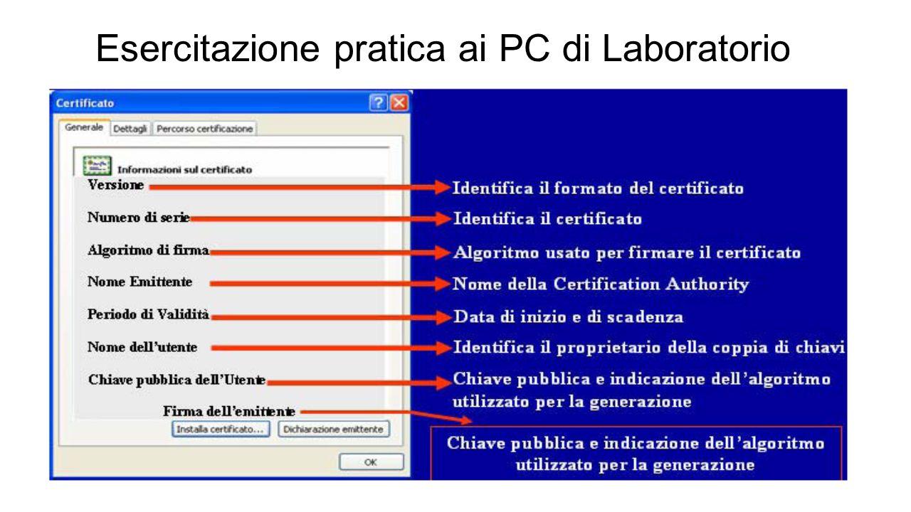 Esercitazione pratica ai PC di Laboratorio