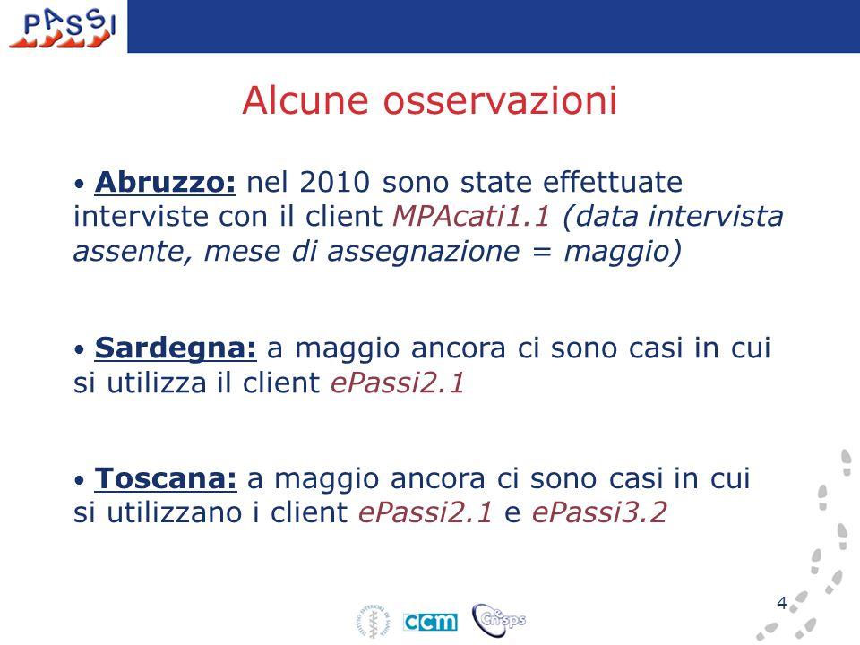 4 Alcune osservazioni Abruzzo: nel 2010 sono state effettuate interviste con il client MPAcati1.1 (data intervista assente, mese di assegnazione = maggio) Sardegna: a maggio ancora ci sono casi in cui si utilizza il client ePassi2.1 Toscana: a maggio ancora ci sono casi in cui si utilizzano i client ePassi2.1 e ePassi3.2