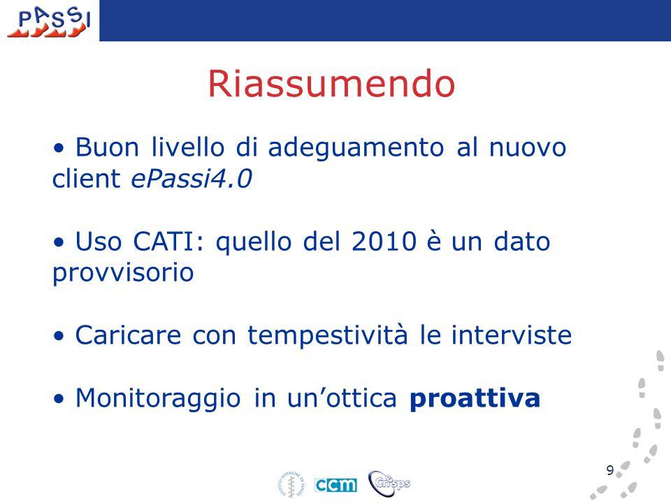 9 Riassumendo Buon livello di adeguamento al nuovo client ePassi4.0 Uso CATI: quello del 2010 è un dato provvisorio Caricare con tempestività le interviste Monitoraggio in un'ottica proattiva