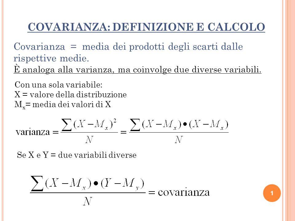 COVARIANZA: DEFINIZIONE E CALCOLO Se X e Y = due variabili diverse Covarianza = media dei prodotti degli scarti dalle rispettive medie. È analoga alla
