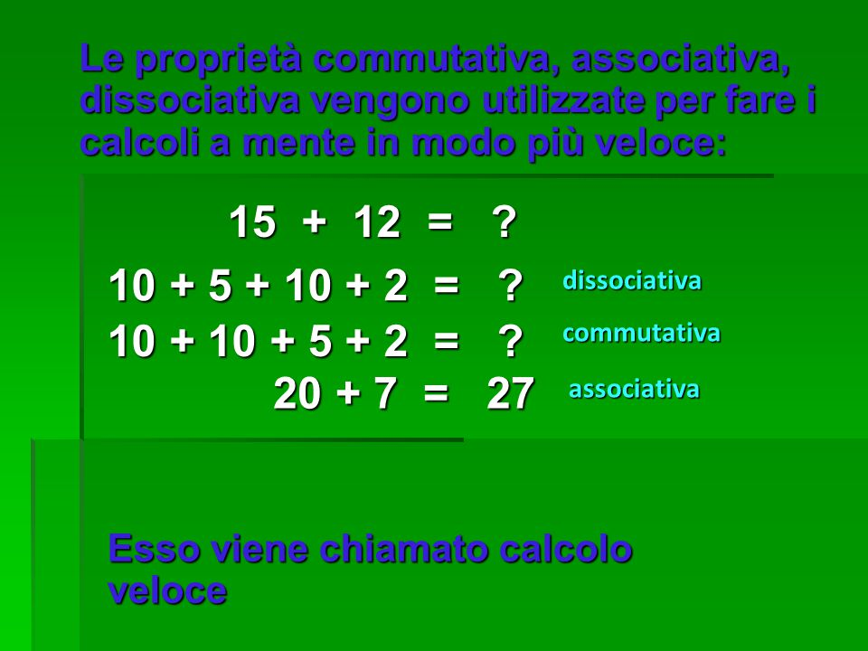 Le proprietà commutativa, associativa, dissociativa vengono utilizzate per fare i calcoli a mente in modo più veloce: 15 + 12 = ? 10 + 5 + 10 + 2 = ?