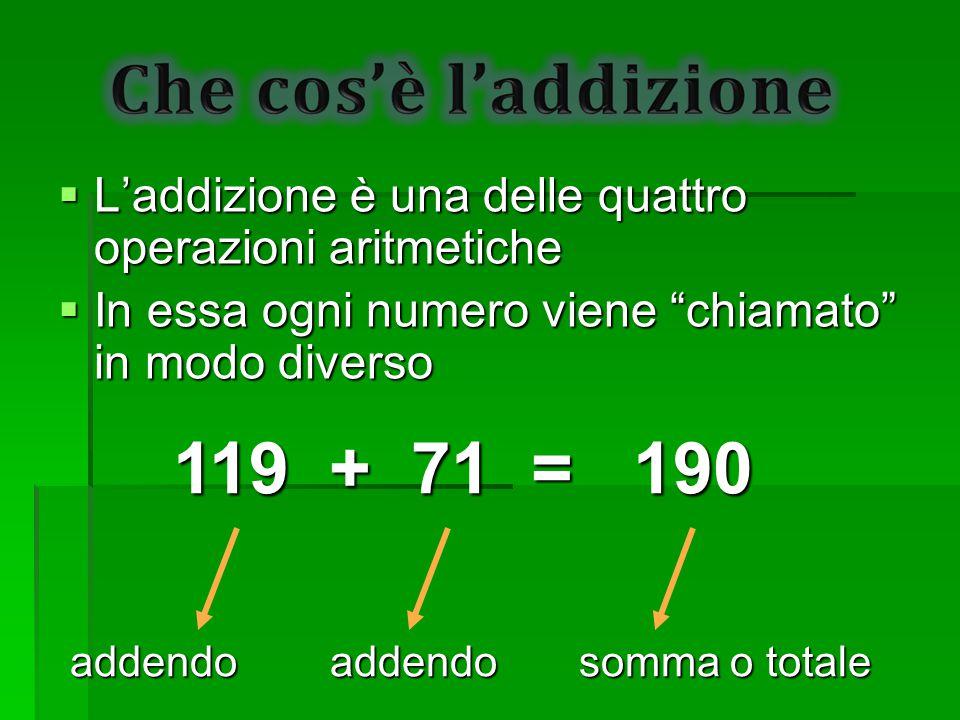 """ L'addizione è una delle quattro operazioni aritmetiche  In essa ogni numero viene """"chiamato"""" in modo diverso 119 + 71 = 190 addendo addendo somma o"""