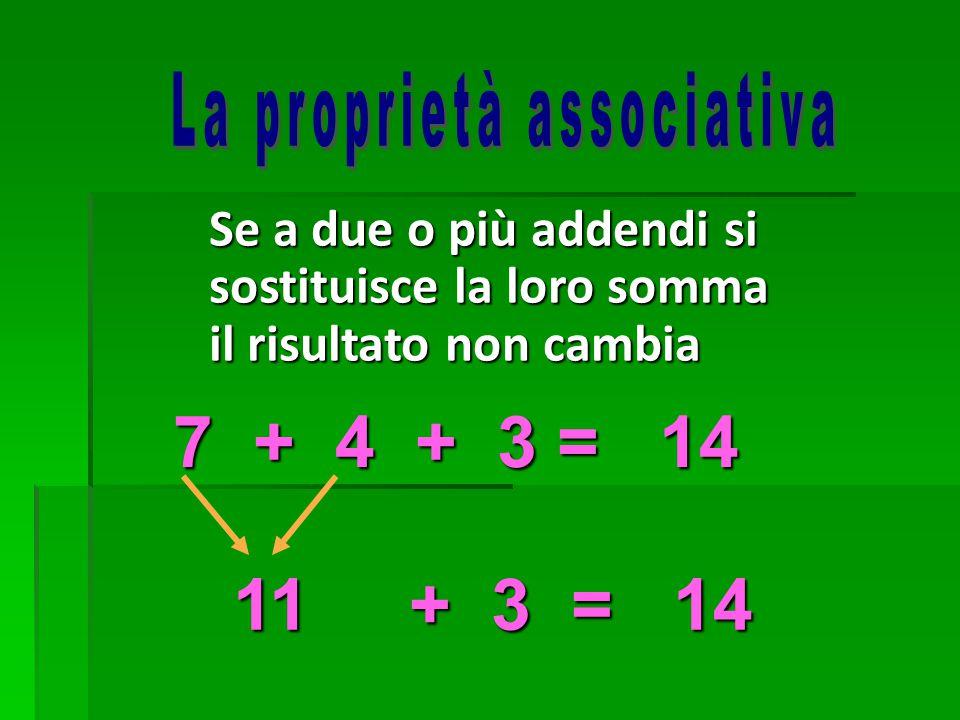 7 + 4 + 3 = 14 Se a due o più addendi si sostituisce la loro somma il risultato non cambia 11 + 3 = 14 11 + 3 = 14