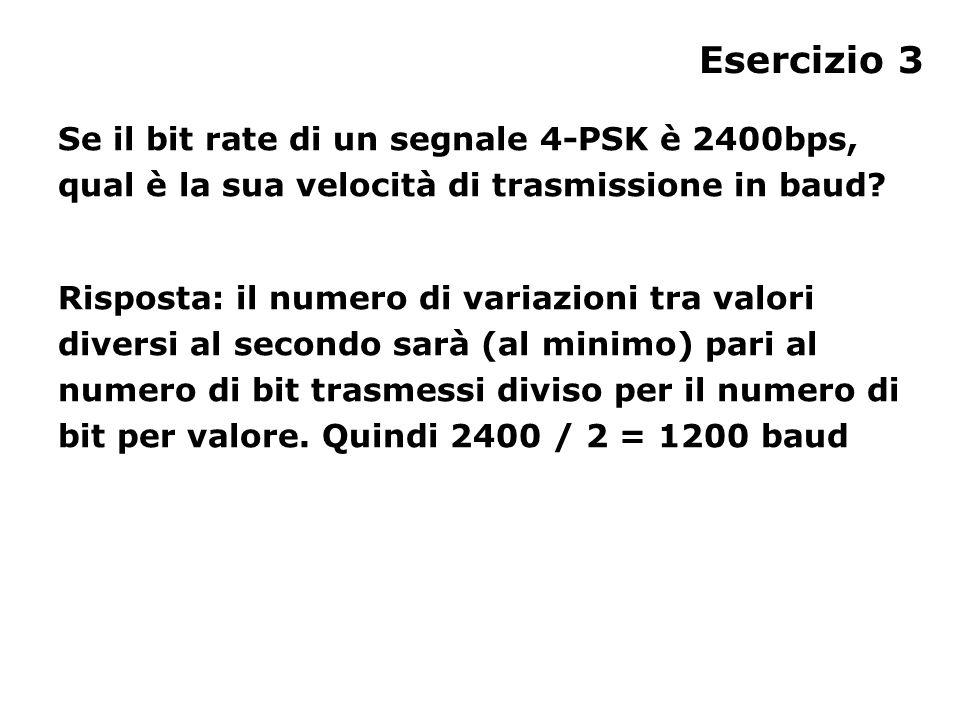 Esercizio 3 Se il bit rate di un segnale 4-PSK è 2400bps, qual è la sua velocità di trasmissione in baud.