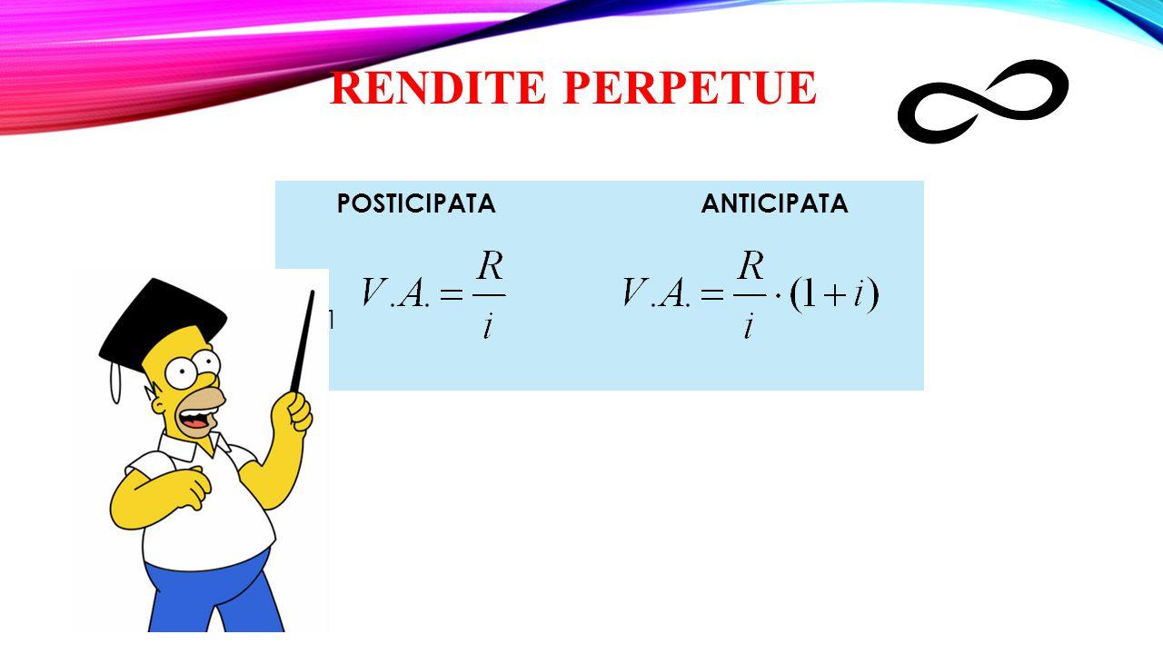 RENDITE PERPETUE POSTICIPATA ANTICIPATA R ∙(1