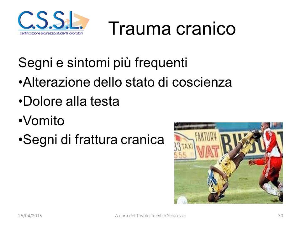 Trauma cranico Segni e sintomi più frequenti Alterazione dello stato di coscienza Dolore alla testa Vomito Segni di frattura cranica 25/04/201530A cur