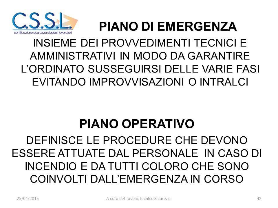 EMERGENZA - EVACUAZIONE PIANO DI EMERGENZA INSIEME DEI PROVVEDIMENTI TECNICI E AMMINISTRATIVI IN MODO DA GARANTIRE L'ORDINATO SUSSEGUIRSI DELLE VARIE