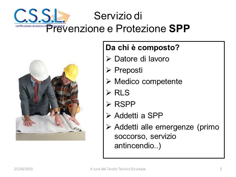 Servizio di Prevenzione e Protezione SPP Da chi è composto?  Datore di lavoro  Preposti  Medico competente  RLS  RSPP  Addetti a SPP  Addetti a