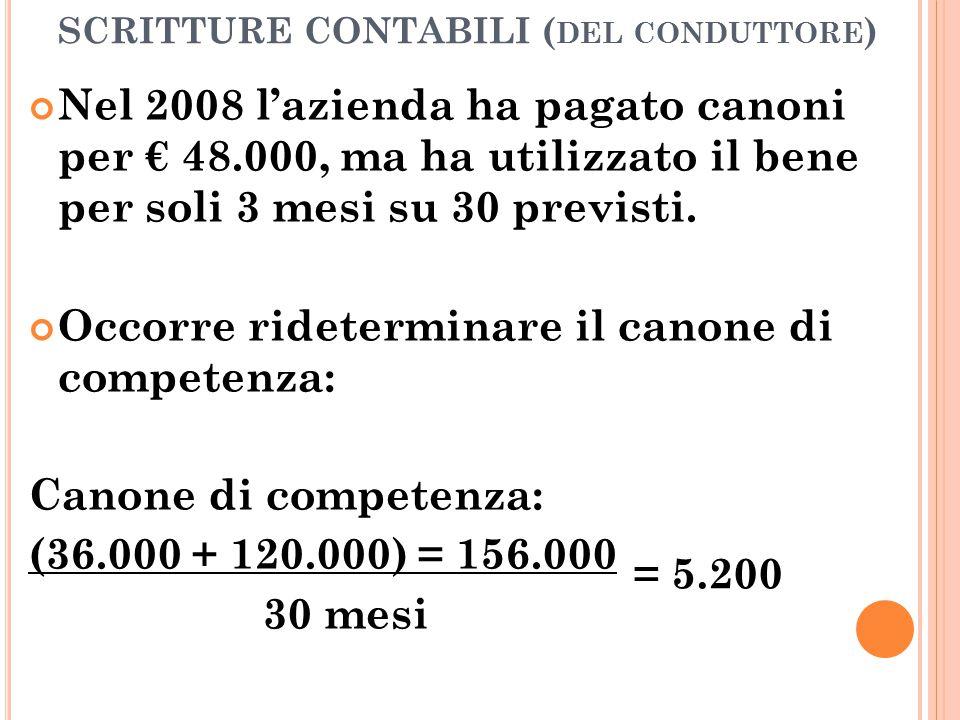 SCRITTURE CONTABILI ( DEL CONDUTTORE ) Nel 2008 l'azienda ha pagato canoni per € 48.000, ma ha utilizzato il bene per soli 3 mesi su 30 previsti. Occo