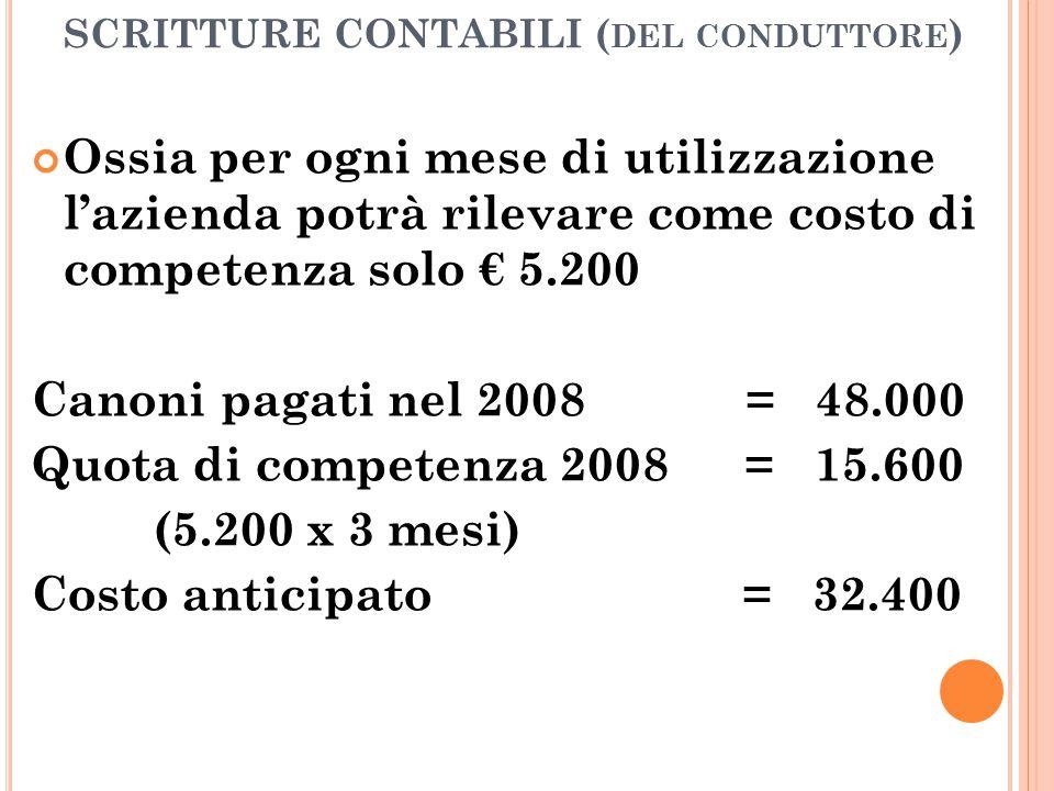 SCRITTURE CONTABILI ( DEL CONDUTTORE ) Ossia per ogni mese di utilizzazione l'azienda potrà rilevare come costo di competenza solo € 5.200 Canoni paga
