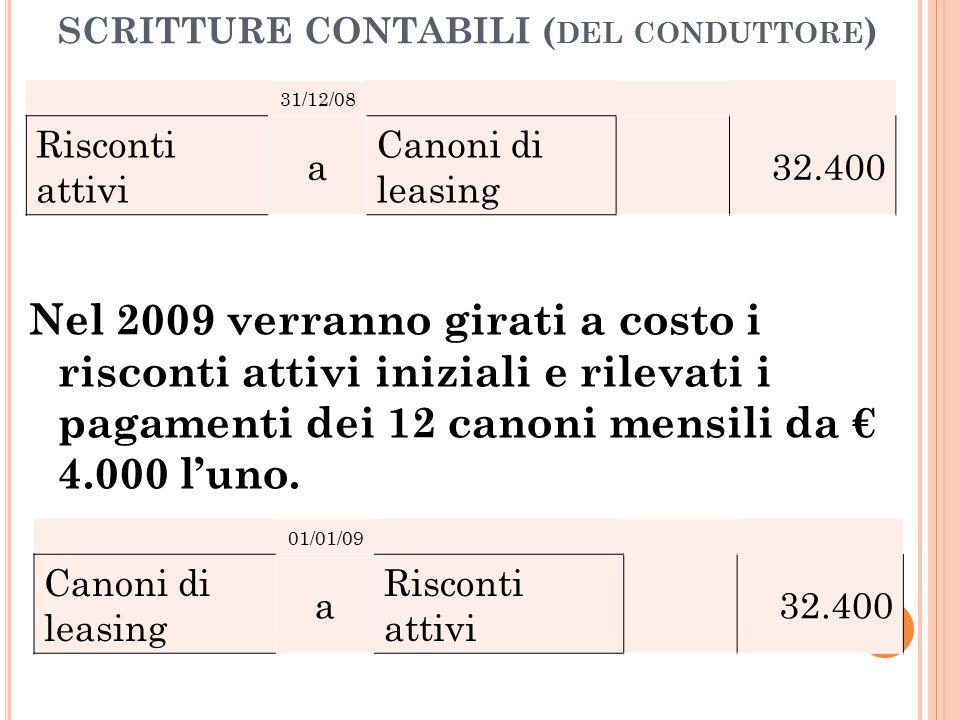 SCRITTURE CONTABILI ( DEL CONDUTTORE ) Nel 2009 verranno girati a costo i risconti attivi iniziali e rilevati i pagamenti dei 12 canoni mensili da € 4