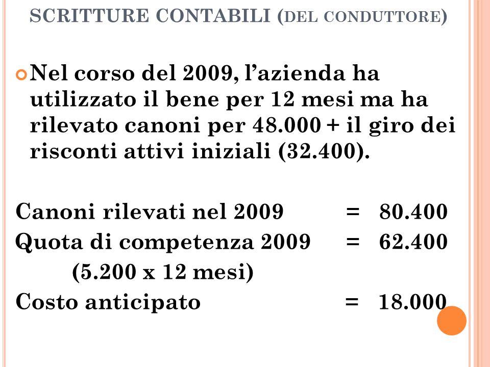 SCRITTURE CONTABILI ( DEL CONDUTTORE ) Nel corso del 2009, l'azienda ha utilizzato il bene per 12 mesi ma ha rilevato canoni per 48.000 + il giro dei