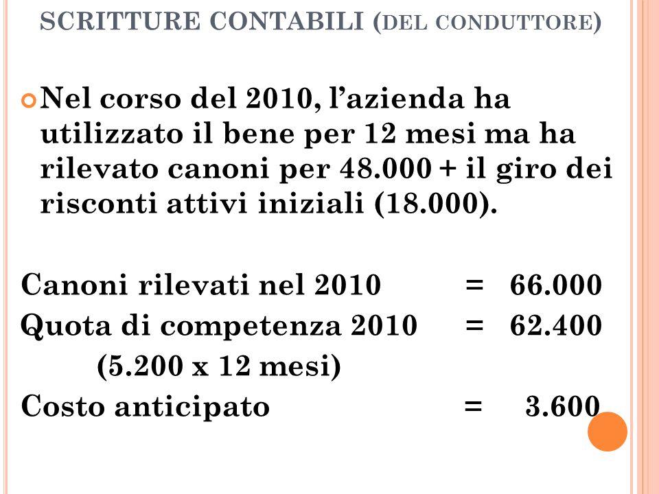 SCRITTURE CONTABILI ( DEL CONDUTTORE ) Nel corso del 2010, l'azienda ha utilizzato il bene per 12 mesi ma ha rilevato canoni per 48.000 + il giro dei