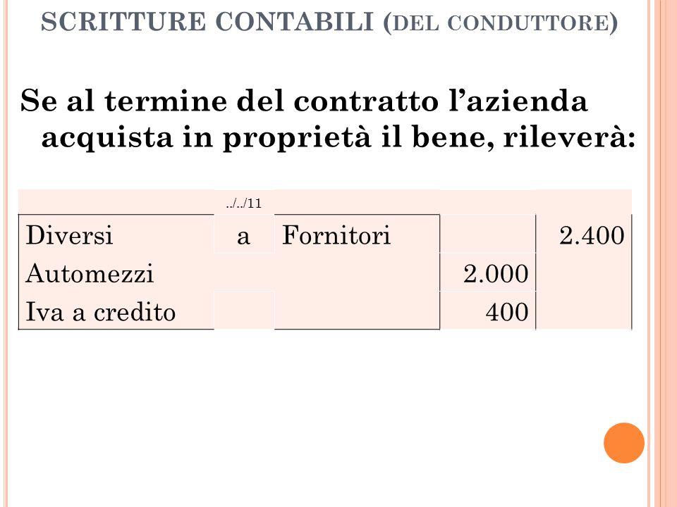 SCRITTURE CONTABILI ( DEL CONDUTTORE ) Se al termine del contratto l'azienda acquista in proprietà il bene, rileverà:../../11 Diversi a Fornitori2.400