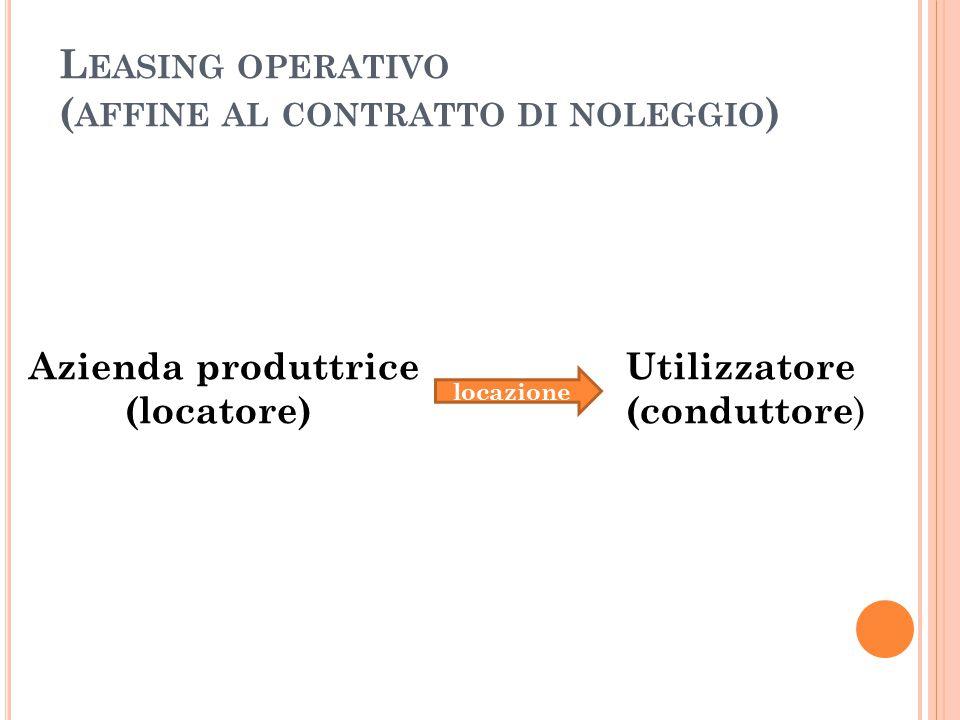 L EASING OPERATIVO ( AFFINE AL CONTRATTO DI NOLEGGIO ) Azienda produttrice Utilizzatore (locatore) (conduttore ) locazione