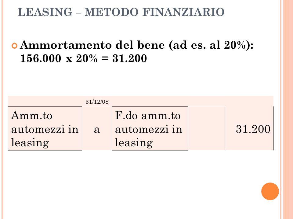 LEASING – METODO FINANZIARIO Ammortamento del bene (ad es. al 20%): 156.000 x 20% = 31.200 31/12/08 Amm.to automezzi in leasing a F.do amm.to automezz